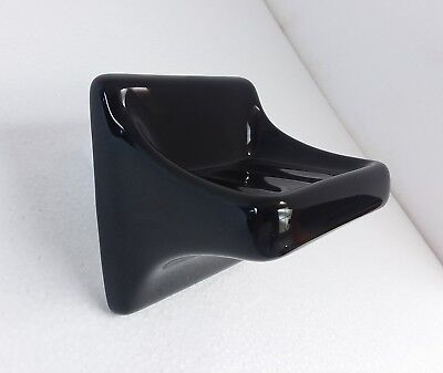 Black Ceramic Soap Dish Tray Holder Vintage Retro Gloss Porcelain Wall Mount