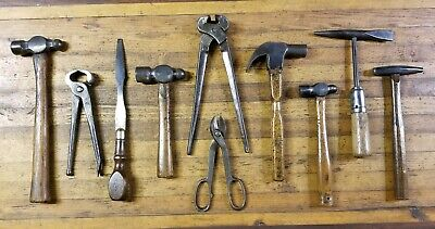 ANTIQUE Tools Lot • BLACKSMITH HAMMERS Ball Cross Pein Tongs Anvil Forge ☆USA