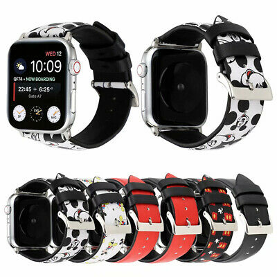 Mickey Minnie Mouse Leather Sport Band For Apple Watch Series 5 4 3 Wrist Strap