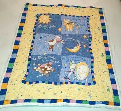 Homemade Nursery Rhyme Baby Blanket Hey Diddle Diddle Blue & Yellow 35 x 44