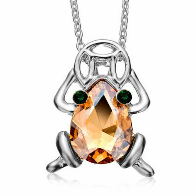 Silver Tone Crystal Frog Pendant Necklace Feng Shui Money Frog for Good Luck