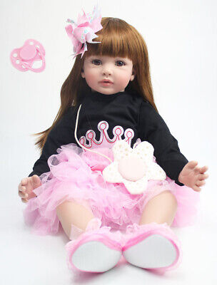 Soft Silicone Reborn Baby Dolls Real Life Cute Princess Girl Reborn Toddler 24""