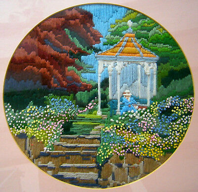 "Framed Finished Long Stitch ""Victorian Summer House"" Craft Tapestry Needlepoint"