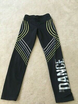 Girls size 8 Justice DANCE athletic leggings yoga pants black Silver