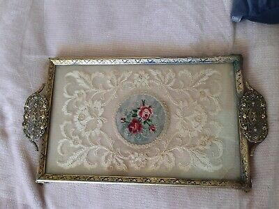Vintage Brass And Lace Vanity Tray
