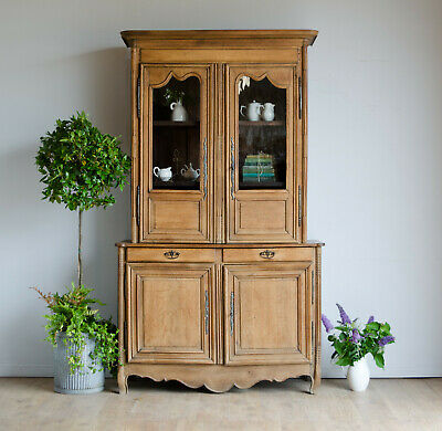 Rare Large French Antique 19C Carved Oak Display Cabinet / Bookcase / Dresser