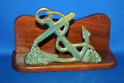 A super Edwardian anchor letter rack, brass and wood, nautical, sailor, yacht