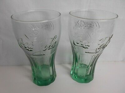 Coca-Cola Glasses McDonald's  x 2 (Green) Dated 2015