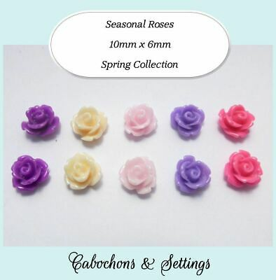 10 X Resin Cabochons 5 Pairs 5 Colours Spring Retro Flowers 10mm