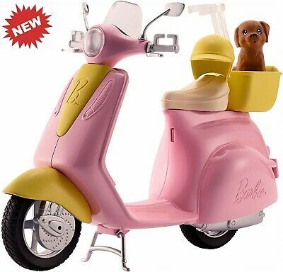 Barbie ESTATE Mo-Ped Motorbike for Doll, Pink/ Yellow Scooter, Vehicle Transport