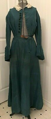 Antique Victorian dress, teal green, balloon sleeves, as is