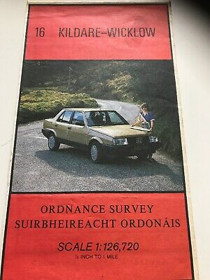 1986 old vintage OS Ordnance Survey Ireland half-inch map 16 Kildare - Wicklow