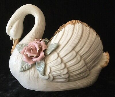 Vintage Large Porcelain White Swan Planter with 2 Pink Roses & Gold Trim, EUC