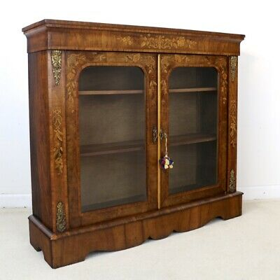 Antique English Victorian Figured Walnut and Floral Marquetry Side Cabinet