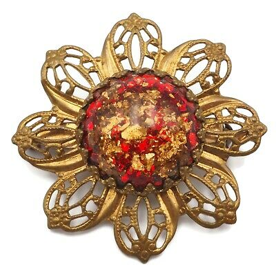 Vintage Retro Floral Fashion Brooch Pin w Ruby Red & Gold Flake Acrylic Center