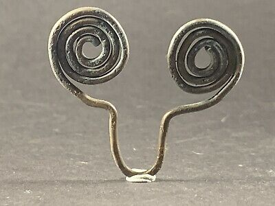 Very Rare Ancient Celtic Solid Silver Spiral Spectacle Amulet Circa 900-700Bce