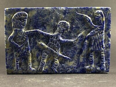 Very Rare Ancient Near Eastern Lapiz Lazuli Relief Panel Depicting Battle Scene