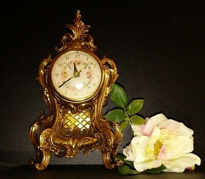 Clock Mantle Desk Electric French Style Ornate Scrolls Gold Tone  Brass