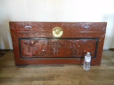 Hand carved Vintage Chinese Trunk