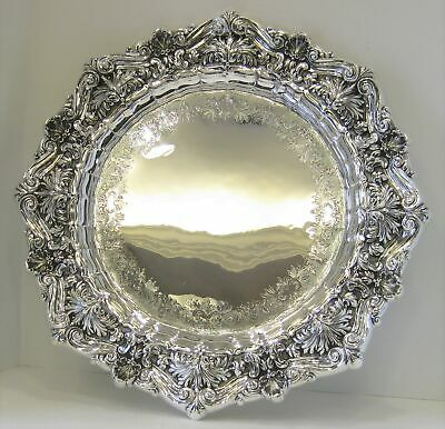 Portuguese 925 Sterling Silver Ornate Hand Chased Leaf & Shell Round Tray