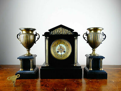 Rare Marti Antique French Vintage Chiming Mantel Garniture Clock Set
