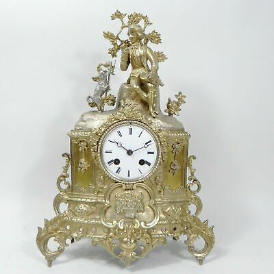Antique Japy Freres Clock Gilded Brass Silver Vintage Mantle Clock circa 1850