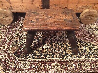 Vintage Antique Oak Stool, Small Oak Stool, 4 Legged Stool, Vintage Accessories