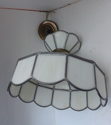 Stained Slag Leaded Glass Chandelier Swag Light Hanging Lamp White Shade Vintage