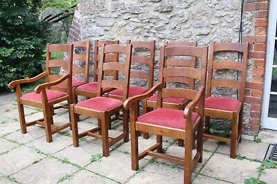 8 Rare Bergerac French Solid Oak Ladder Back Farmhouse Chairs by John Lewis