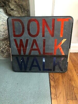 Vintage DON'T WALK WALK Pedestrian Traffic Signal Light Sign Lens Glass