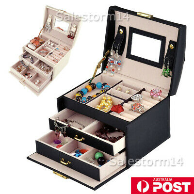 Jewellery Storage Box Watch Case Rings Necklaces Display Organizer A