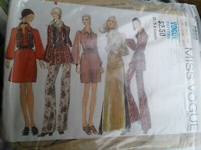 1970's VTG VOGUE Misses  MOD HIPPIE CHIC TOP AND PANTS