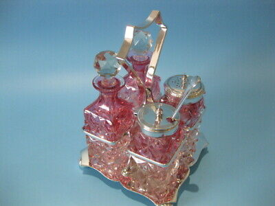 Beautiful Antique Silver Plated Victorian 4 Piece Cranberry Cruet Set on Stand