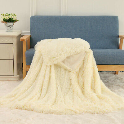 Faux Fur Super Warm Covers New Winter Coral Fleece Blanket Shaggy Pile Quilt Hot
