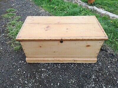 Antique Victorian Pine Blanket Box Chest Trunk Coffee Table