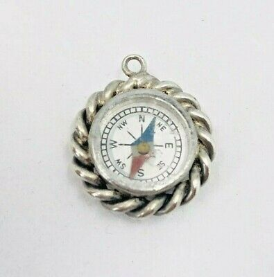 Antique Late Victorian Silver Or Plate Compass Working Rare Watch Fob / Pendant