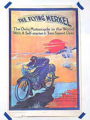 Antiquitäten & Kunst ADVERT MOTORCYCLE FLYING MERKEL USA TRANSPORT POSTER ART PRINT PICTURE BB1933A