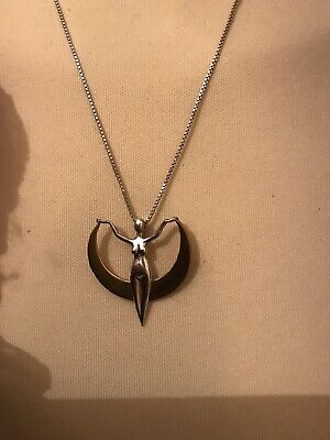Silver Pendant and Necklace Art deco Style Hand Crafted