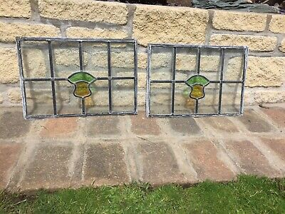5 Leaded Light Stained Glass Window Panel 1960's surrounded door