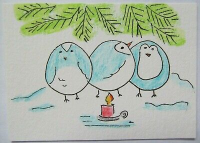 ACEO Original Watercolor Birds Keeping Warm by Candlelight by Artist MiloLee