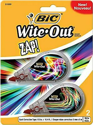 BIC Wite-Out Brand ZAP! Correction Tape, White, 2-Count