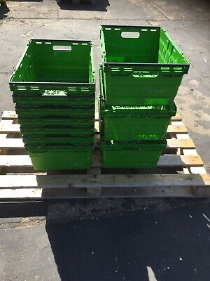 10 x Lime Green Bail Arm Crates / Bale Arm Plastic Stacking Boxes