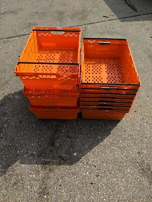 10 x Bright Orange Bail Arm Crates / Bale Arm Plastic Stacking Storage Boxes