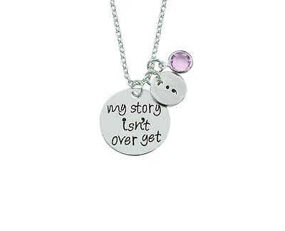 My Story Isn't over Semicolon Semi Colon Mental Health Awareness Necklace Pink