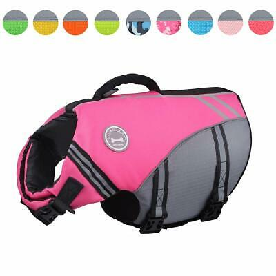 Vivaglory New Sports Style Ripstop Dog Life Jacket Safety Vest Medium Pink