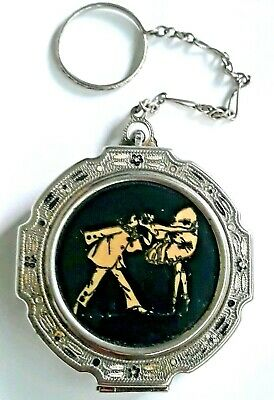 Antique Art Deco Tango Vanity Compact With Kissing Ballerina Couple Enamel.