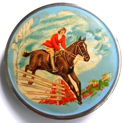Vintage Blue Enameled Compact With Hand Painted Equestrian Scene. See!