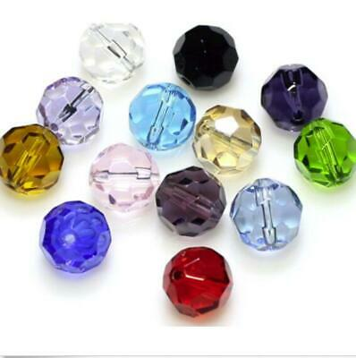 wholesale 3/46/8/10/12mm  Multicolor Round Faceted crystal glass Loose Spacer