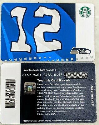 2019 Seattle Seahawks Starbucks Card No Value