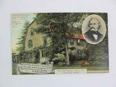 Vintage Postcard The Old Manse Nathaniel Hawthorne House Concord Mass